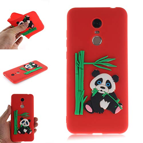 Coque pour Xiaomi RedMi 5 Plus, Coffeetreehouse Coque 3D Neuf Design Premium [Panda et Bambou] Housse de Protection Flexible Soft Case Cover,Rouge Corail