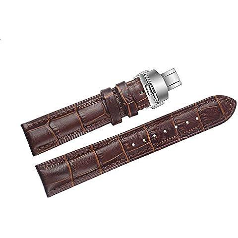 20 mm di fascia alta cinturini per orologi in pelle marrone / band distribuzione sostituzione fibbia a doppia spinta per orologi di lusso