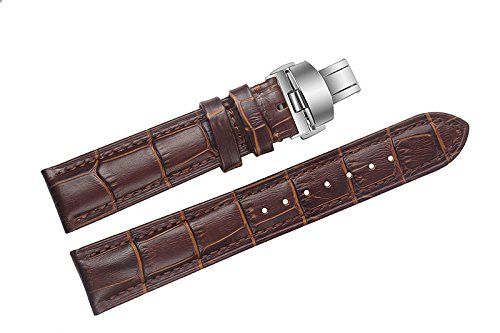 20mm braun High-End-Lederarmbänder / Bands Ersatz Einsatz Doppel-Push-Schnalle für Luxus-Uhren