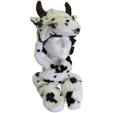 Infantil con forma de peluche han sido calculados atentamente Unisex adultos de cara de gorro con orejeras/diseño de bufanda con diseño/para mujer/Combo de zarpa de guante de bolsillo HAI773, vaca, talla única