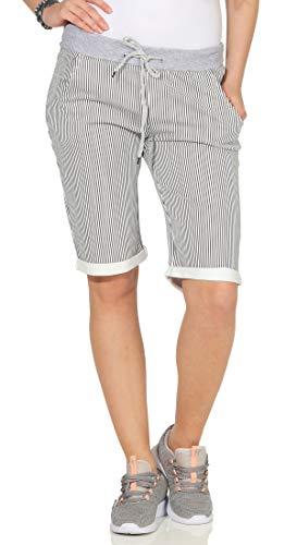 cleostyle Kurze Damen Bermuda, leichte luftige Hose für den Sommer, kurzer Jogger für Freizeit und Strand 9 (Schwarz Streifen)