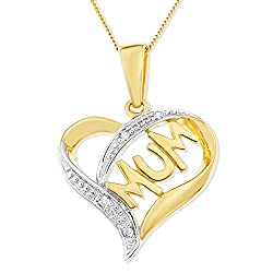 Ornami Glamour 9ct Yellow Gold Diamond Accent Mum Heart Pendant On 46cm Chain
