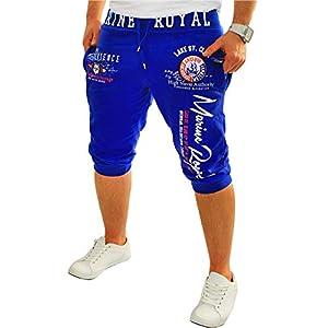 Herren Short Shorts Bermuda Kurze Hose Steetwear 3/4 Marine Royal Stretch (B.3484)