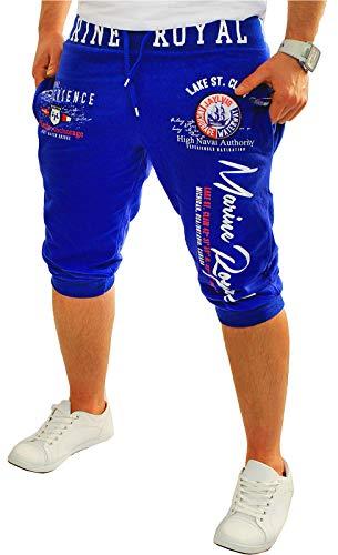 Herren Short Shorts Bermuda Kurze Hose Steetwear 3/4 Marine Royal Stretch (B.3484) (3XL), Blau
