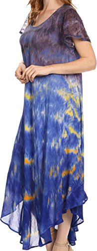 Casquette brodée Sakkas Kaylaye longue Tie Dye Ombre Caftan manches Robe / Cover Up Violet