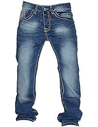 Herren Jeans Hose Jeans-Hose mit Dicke -Braune Orange-Naht S-12 Blau Tisey®