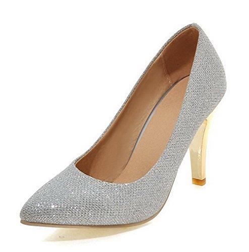AllhqFashion Damen Stiletto Weiches Material Rein Ziehen Auf Spitz Zehe Pumps Schuhe Silber