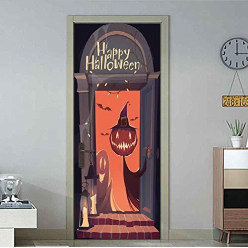 SJKstore 3D tür Aufkleber Neue Ankunft Kürbis Halloween Dekorationen Wohnkultur Holztür Renovierung Aufkleber Vinyl Selbstklebende Tür Wandbild 77x200 cm
