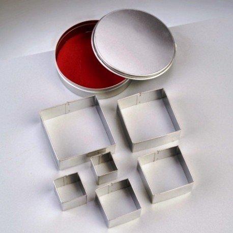Emporte-pièces en inox, 6 carrés, taille de 2,5 à 7 cm