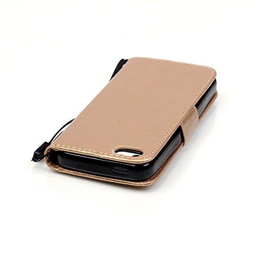 JIALUN-étui pour téléphone Avec slot pour carte, Lanyard, Pressure Beautiful Pattern Fashion Open Cell Phone Shell pour IPhone 5C ( Color : Gray , Size : IPhone 5C ) Gold