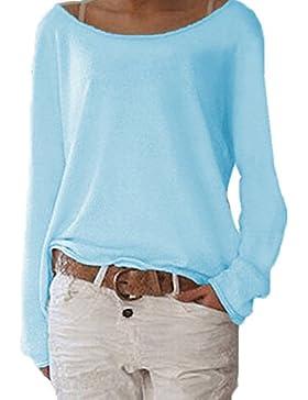 WOZNLOYE Mujer Camisas Casual Colores Lisos Camisetas Remata Moda Suelta Cuello Barco Manga Larga T Shirt Blusas...