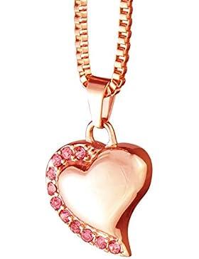 Rose Gold Herz mit Rosa Kristallen Urne Anhänger Halskette–Memorial Esche Verbrennung Schmuck