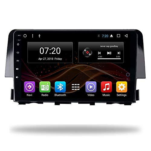 2.5D IPS Android 7.1 Car DVD Radio GPS Navigation for Honda Civic 2016-2018 Stereo Audio Navi Video with Bluetooth Calling WiFi Touch Screen (Android 7.1 1/16G for Honda Civic 16-18)