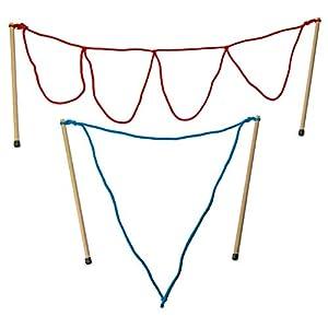 2 Paar Riesenseifenblasen Stäbe Loop-mittel / multi, Holz (50cm lang) Seifenblasen Set Kidzmedia
