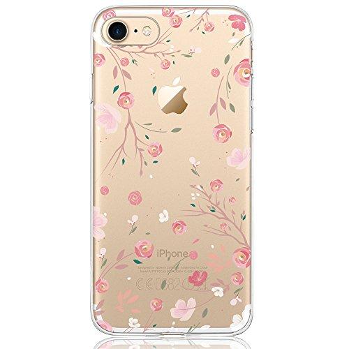 iPhone 8 Hülle, iPhone 7 Hülle (4,7 Zoll), DAPPⓇ Transparente Silikon Damen / Mädchen Schutzhülle, Handyhülle Case Durchsichtig mit Rosa Rot Flamingo Muster für iPhone 8 / 7 Rosenblüten