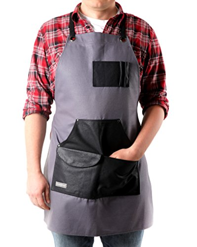Graue Arbeitsschürze aus gewachstem Segeltuch   Schürze für Gebrauchsgeräte mit Taschen   Verstellbare, verstärkte Träger   Vielseitig für Werkstatt, Schmied, Schreiner  für Männer & Frauen