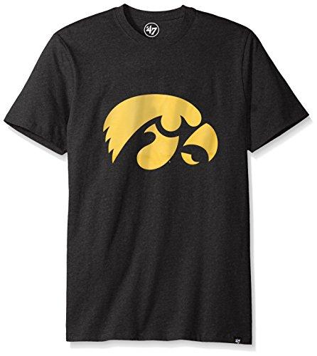 47 Brand NCAA Herren Club-T-Shirt Iowa Hawkeyes, Gr. M, Tiefschwarz