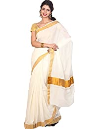 Samskruti Sarees Cotton Saree with Blouse (SKKCS-1_White)