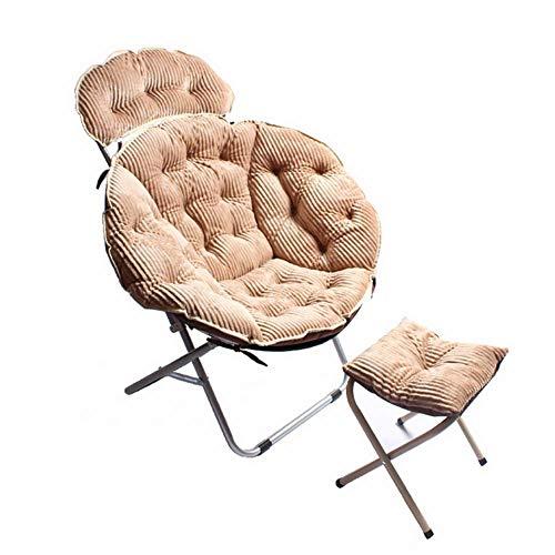 RUIX Home Klappstuhl Büro Sessel Mit Fußstütze, Geeignet Für Schlafzimmer, Wohnzimmer,Beige
