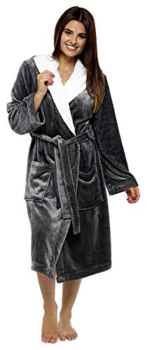 CityComfort Luxury Dressing Gown for Ladies Super Soft Fleece Bathrobe (L b2f66eca7