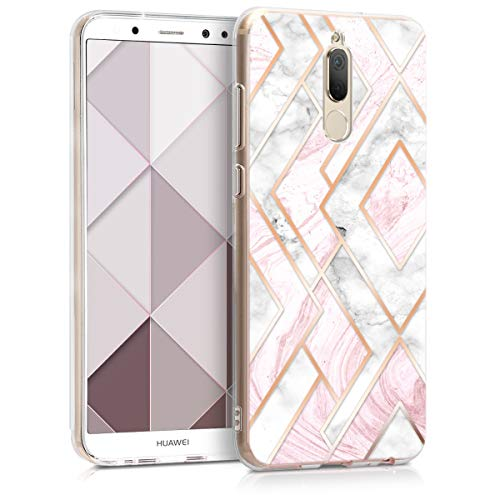 kwmobile Huawei Mate 10 Lite Hülle - Handyhülle für Huawei Mate 10 Lite - Handy Case in Glory Mix Marmor Design Rosegold Weiß Altrosa