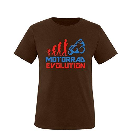 EZYshirt® Motorrad Evolution Herren Rundhals T-Shirt Braun/Rot/Blau