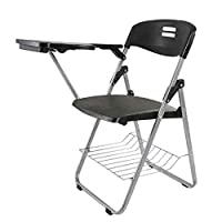 Mahmayi Kelvin S234A Folding Student Chair – Black Plastic - Plastic Folding Chair With Writing Tablet - Foldable Chair With Polypropylene Tablet And Powder Coated Frame