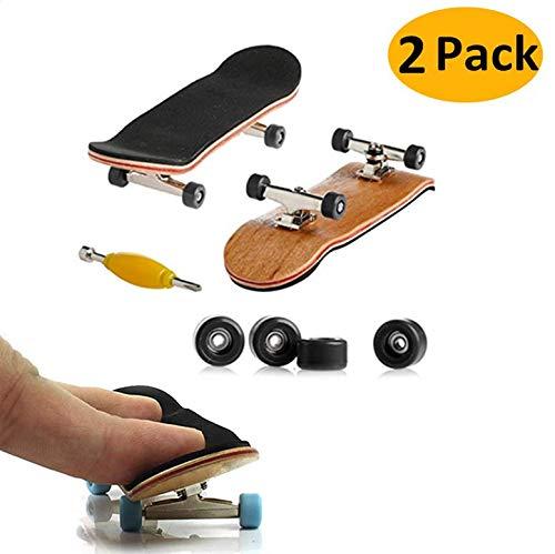 AumoToo Mini-Griffbrett, 2 Pack Profi Finger Skateboard Ahorn Holz DIY Montage Skate Boarding Spielzeug Sport Spiele Kinder Geschenk (Schwarz) (Warnung Skateboard Decks)