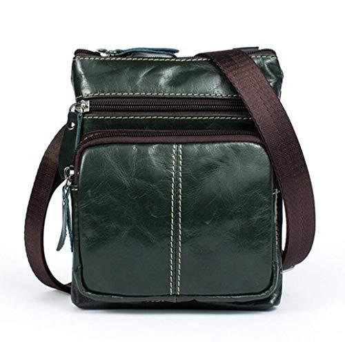 Herren Vintage Echtleder Schultertasche Messenger Bag Crossbody Small Satchel Herrentasche mit Mehreren Reißverschlusstaschen Mehrfarbig optional (Color : Green, Size : One Size) -