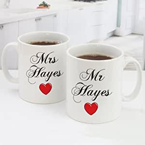 Personalised Mr and Mrs Mugs - Personalise with any name and message