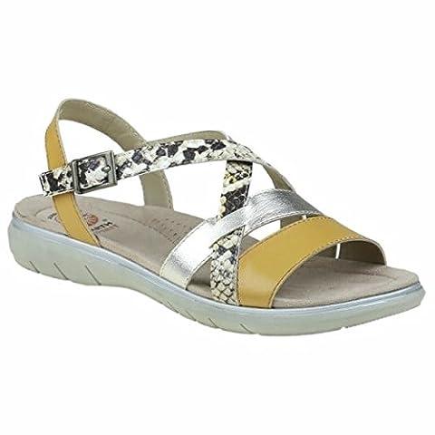 Earth Spirit OCEANSIDE Ladies Leather Open Toe Buckle Sandals Amber Yellow UK 5