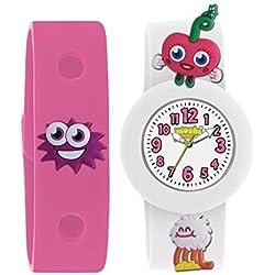 Moshi Kinder Armbanduhr Monsters Luvli Weiß& Rosa austauschbares Band mit Anhängern