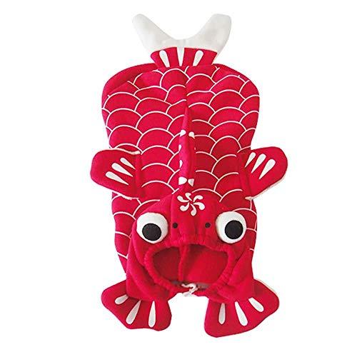 Shanyaid Formidables Weiche reizende Haustier-Hundewelpen-Kleidung beschichten reizendes rotes Goldfish-Kostüm für Frühlingsherbst (Bichon Halloween Kostüme)