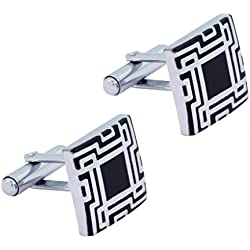 The Jewelbox Glossy Rhodium Plated Square Black Cufflink Pair For Men