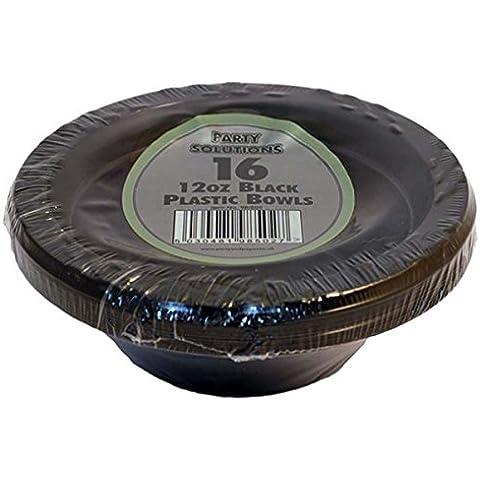 16x Negro boles de plástico–340g/15cm Ideal para fiestas, entrega gratuita