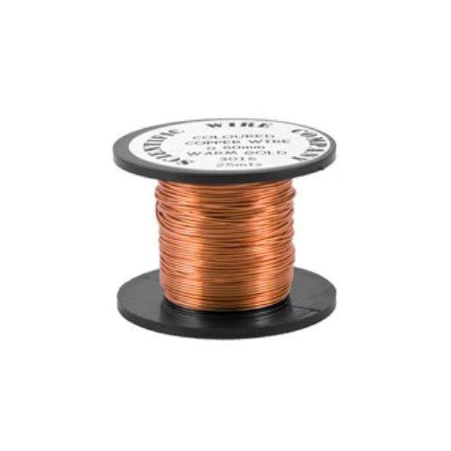 1 x Blasse Bronzeton Rund Kupfer Basteldraht 15 Meter x 0.5mm Rolle - (W5016) - Charming Beads