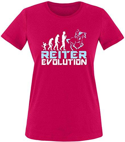 EZYshirt® Reiter Evolution Damen Rundhals T-Shirt Sorbet/Weiß/Hellbl