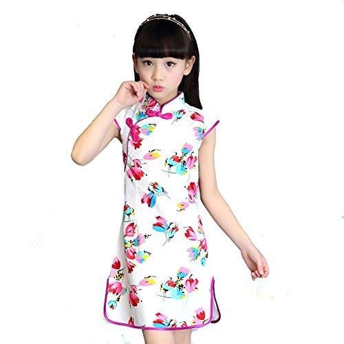 Wgwioo Kinder Cheongsam Mädchen Kleider Prinzessin Rock National Tanz Kostüme Klassische Bühne Aufführungen Chor Gruppe Team, 6#, 100Cm