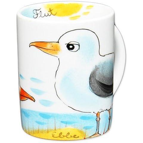 Gabbiano con becco arancione tazza in porcellana dipinto a mano Helina Tilk in ALLA-S
