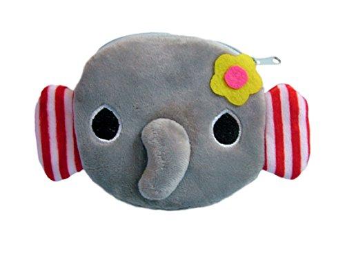 ldbeutel/Kinderportemonnaie (Münzbörse) mit süßem Elefantenmotiv (Elefanten-Baby als 3D Animal Print) inkl. Flauschigen Ohren, Nase und Blümchen (mit Reißverschluss) (Grau) ()