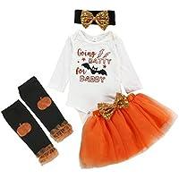 Invierno Fiesta Conjuntos de Falda de tutú sólido para niñas pequeñas y bebés con Estampado de Halloween para niños pequeños