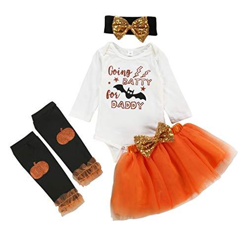 Einfach Kreative Kostüm Paar - Mädchen Druck Kleiderrock Einfach Halloween Kostüm Kreatives Top Tutu mit Fledermaus Karneval Qualitäts Oberteil + Rock + Haarband + Lang Strümpfe Set Dekorativer Rock Schleife