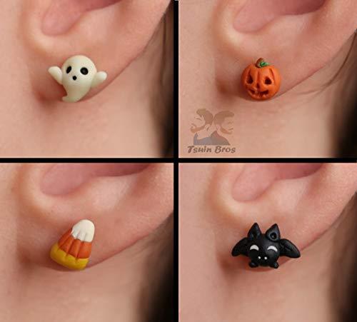 Und Gruselige Niedliche Kostüm - Halloween Ohrringe: Geist, Kürbis, Süßigkeiten oder Fledermäuse aus Fimo. Verkauft als Paar Ohrringe.