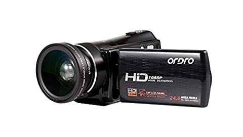 ORDRO Digital Video Camera HD 1080P with Wide Angle Lens 16X Zoom 3.0 Inches LCD Screen Remote Control