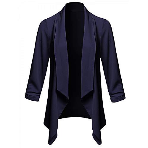 IZHH Damen Mantel, Frauen Solide Open Front Cardigan Langarm Blazer Freizeitjacke Mantel Damen Einfarbig Langarm Strickjacke(Marine,XX-Large -