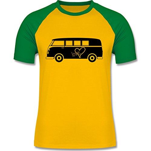 Autos - Bus T1 - zweifarbiges Baseballshirt für Männer Gelb/Grün