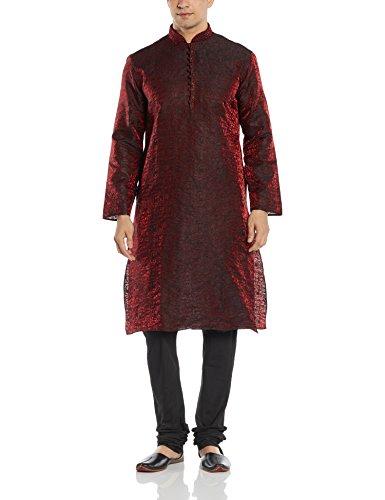 Manyavar Men's Silk Kurta Churidar (8903035103291_SDES093-307-XXL_Maroon and Black)