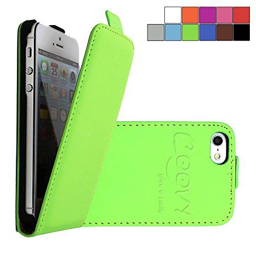 COOVY® SLIM FLIP COVER TASCHE SCHUTZ HÜLLE CASE ETUI FÜR APPLE iPhone 5/5s mit DISPLAYSCHUTZFOLIE Farbe hellblau grün