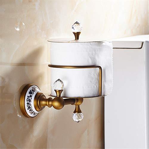 VHVCX Papierspender Euro Stil Wand Kristall Messing Papier Box Papierhalter Gold Papierhalter Bad Zubehör,W -