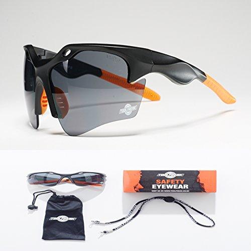 ToolFreak Schutzbrille | Maximaler UV Schutz | Beschichtet und Kratzfest für klare Sicht | Augen Schutz mit Sport Stil Design Sehr Leicht | Klare Glaeser oder Dunkle Glaeser (Dunkle Linsen)